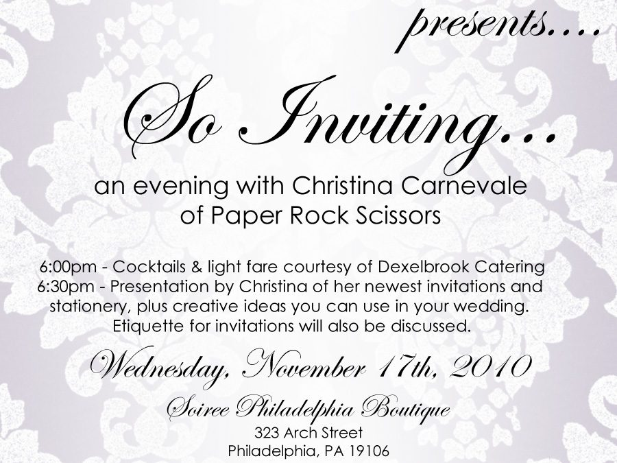{Event for Brides!}:  So Inviting… an evening with Christina Carnevale of Paper Rock Scissors
